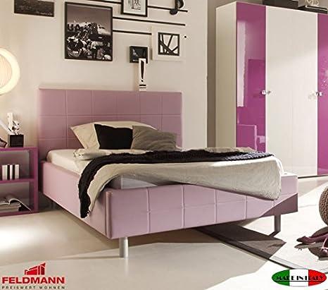 Polsterbett Bett mit Kopfteil 5500155001 lila Kunstleder 120x200cm
