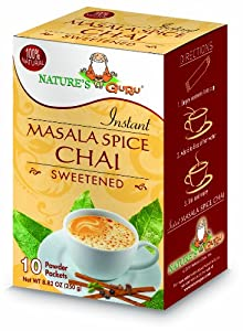 Nature's Guru Instant Masala Spice Chai Sweetened, 10-Count (Pack of 4)