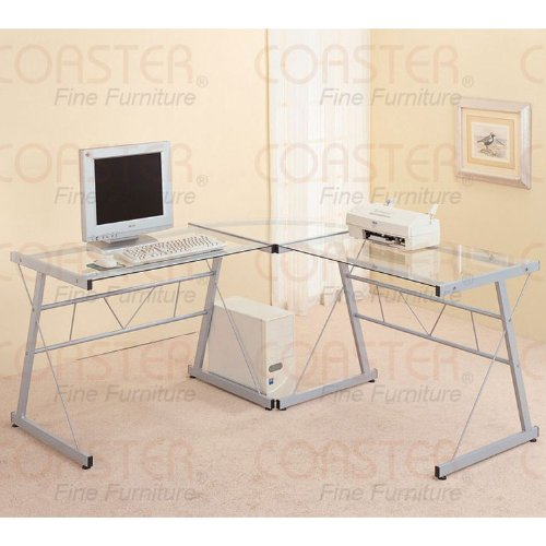 Buy Low Price Comfortable L-Shaped Silver Computer Desk (B003XR67R2)