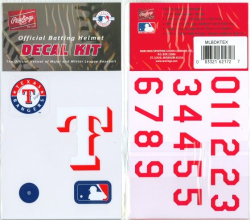 Texas Rangers MLB Batting Helmet Decal Kit (Includes Official Team Logos Stickers, MLB Logo & Numbers for Youth Little League Players to Adult Recreation Players at Amazon.com