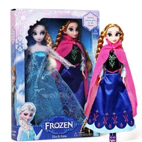 "2PCS Birthday Gift Playset Frozen Princess Elsa&Anna 12"" 30CM Doll Figures Girl"