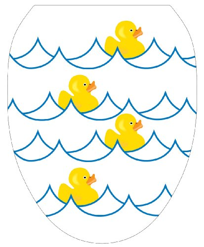 Toilet Tattoos TT-4000-O Rubber Ducky White Decorative Applique for Toilet Lid, Elongated