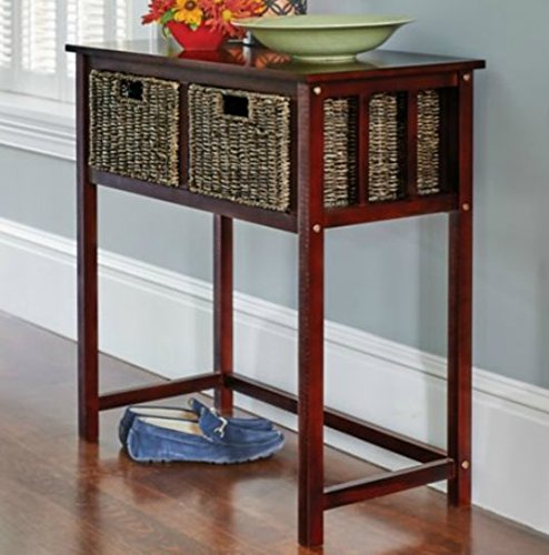 Elegant Pine Wood Multi Purpose Storage Seagrass Basket Table Cabinet Group (arrives fully assembled) (2 Drawer Console) (Shutter Media Console compare prices)