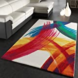 Teppich Modern Bunt Teppich Splash Brush Leinwand Optik Creme Grün Blau Rot Gelb, Grösse:200x290 cm