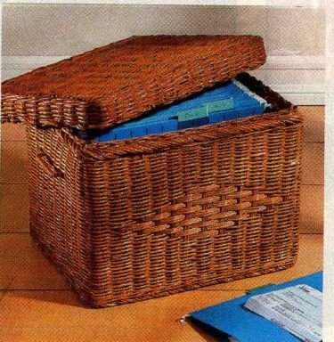 Wicker Letter File Basket With Lid (Wicker Basket With Lid And Handle compare prices)