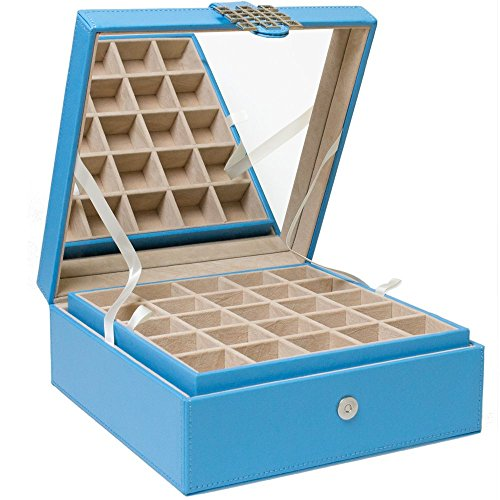 Earring Organizer - Classic 50 Section Jewelry Box / Case / Holder for Earrings, Rings, Necklaces, Jewelry, Cufflinks or Collections. 50 Small Compartments with Elegant Large Mirror - Blue