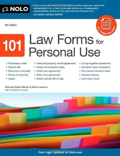 101 Law Forms for Personal Use 8th (eighth) Edition by Warner Attorney, Ralph, Leonard J.D., Robin, Editors of Nolo (2011)