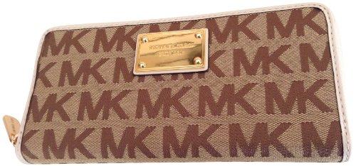 Michael Kors Mk Signature Jacquard Za Continental Wallet Beige Ebony Vanilla
