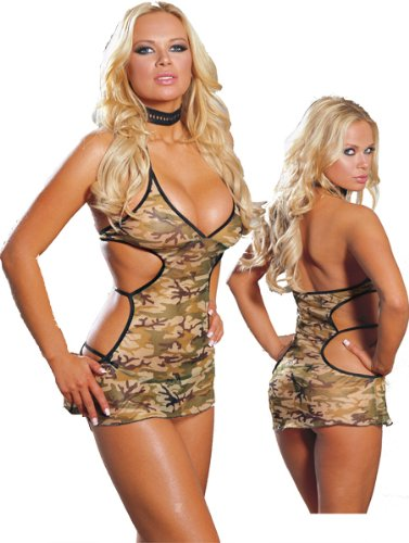 Camo Sleepwear Lingerie Dress and Thong - Military Camoflauge