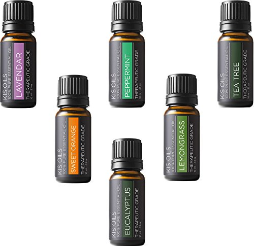 Aromatherapy Top 6 100% Pure Therapeutic Grade Basic Sampler Essential Oil Gift Basic sampler essential oil gift set 6/10ml (lavender, sweet orange, peppermint, lemongrass, tea tree, eucalyptus) (Muji Aroma Diffuser compare prices)