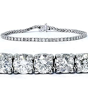 3ct Natural Round Cut Diamond Tennis Bracelet 14K White Gold 7
