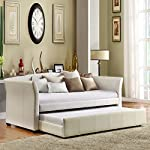 Home Creek Idealbed Milan Luxury Upholstered Leatherette Modern Daybed with Roll-Out Trundle, White