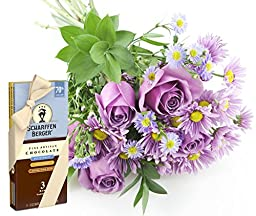 Purple Passion Daisy & Rose Bouquet and Scharffen Berger Chocolate -Without Vase