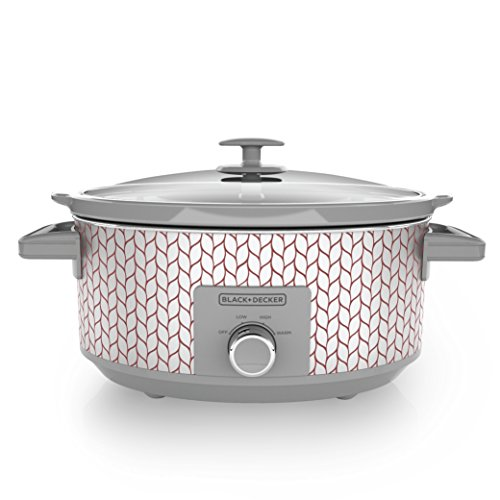 BLACK+DECKER SC3007D 7 Quart Dial Control Slow Cooker with Built in Lid Holder, Purple & Silver Leaf Pattern (One Pot Lid compare prices)