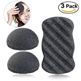 PIXNOR Konjac Sponge All Natural Facial Body Sponges with Activated Bamboo Charcoal