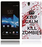 Sony Xperia Z H�lle Hardcase (Harte R�ckseite) Case Cover - Keep Calm and Kill Zombies Muster Schutzh�lle f�r Sony Xperia Z - Wei� und Rot