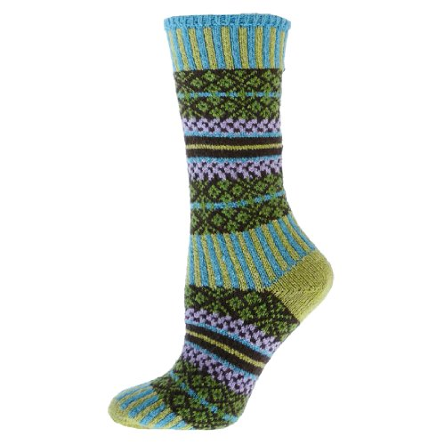 Qt Feet Lattice Ladies Crew Socks ( Lime - Medium )
