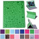 HDE - Funda de piel con función atril para iPad 1, diseño de dibujos, color verde