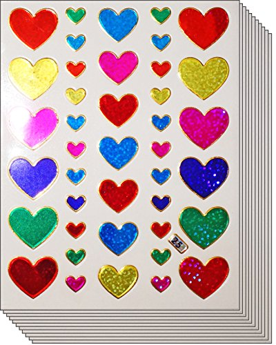 Jazzstick 400 Valentine's day Colorful Glitter Heart Stickers 10 sheets (VST01A20)