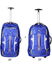 """High Sierra Cobalt Blue Set Of 2 Pcs. Duffel Trolley Backpack With Shoe Compartment (22""""+28"""") Luggage Set/Rucksack..."""