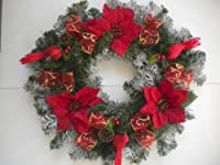 Red Poinsettias and Cardinals Christmas Front Door Wreath from SF Designs