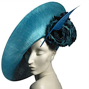 Philip Treacy Teal Blue Fascinator, one size.