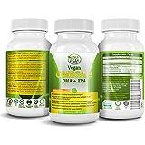 Amala Vegan DHA & EPA Omega 3 Supplement w/ Essential Fatty Acids & Vitamin E - Algae based & Non GMO Time-Release Capsules - Improve Eye, Heart, & Brain Health