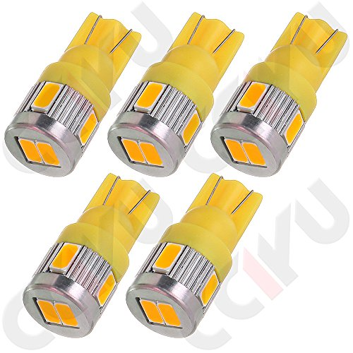 CCIYU 5X Bright 194 Amber 6-5730-SMD LED Bulbs for Clearance Cab Marker Lights lamps Fits For 2014-2015 Ford F-150/ E-450 Super Duty/ E-350 Super Duty/ E-250/ E-150/ F-550 Super Duty (Ford Cab Clearance Lights compare prices)