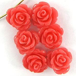 6 14mm synthetic coral carved rose flower pendant bead pink