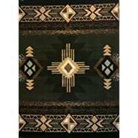 South West Native American Area Rug 5 Ft X 7 Ft Sage Green Design # C318
