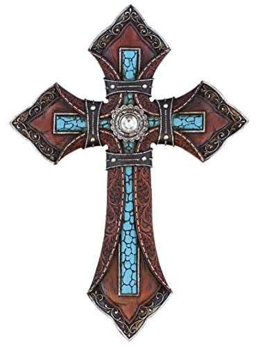 Tooled Leather Look Wall Cross - Faux Turquoise with Center Rhinestone