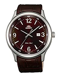 Orient Dressy Quartz Men Brown Dial Brown Leather Strap Round Shape, Made In Japan
