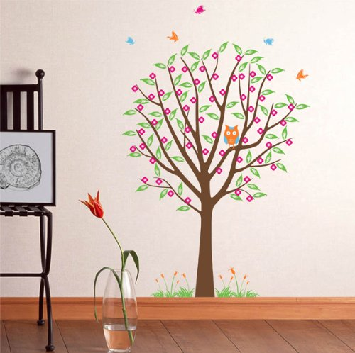 Pop Decors Removable Vinyl Art Wall Decals Mural for Nursery Room, Flower Tree with Cute Owl