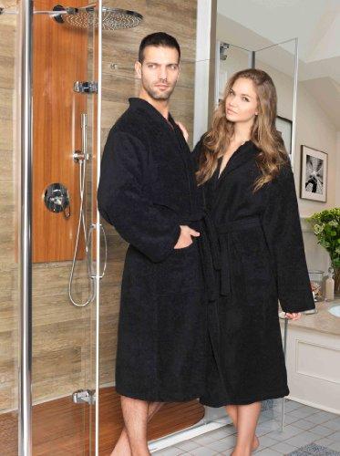 Frottee Kimono Bademantel Damen Herren Farbe Schwarz Größe S