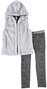 Beautees Big Girls' Hooded Furry Vest and Legging Set, Grey, Small