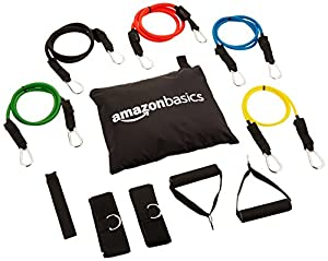 AmazonBasics Resistance Band Set with 5 Bands, Foam Handles, Door Anchor, Ankle Straps, and Carrying Case