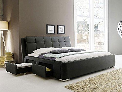 Polsterbett schwarz Bett 180×200 Kunstleder 4x Schubkasten Bettgestell Doppelbett Designerbett Alvaro günstig bestellen
