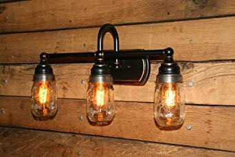 Mason jar vanity light wall sconce 3 mason jar bathroom light edison bulbs included vanity for Edison bathroom light fixtures