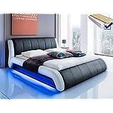 Polsterbett schwarz Bett 140x200 + Lattenrost + Matratze + LED-Beleuchtung Jugendbett Singlebett Designerbett...