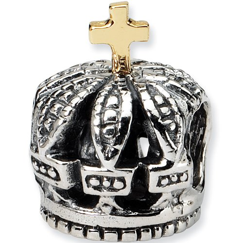Reflection Beads Silver 14kt Regal Crown Travel Bead