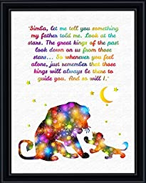 Aprilskys Workshop 8X10 The Lion King Mufasa and Simba Quote Canvas Art Print Wall Decor Home Décor Room Deco Inspirational Wall Art Gift A216