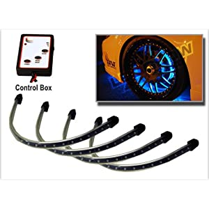 4pc Blue Flexible LED Wheel Well Fender Light Kit