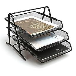 Aojia 3-tier Steel Mesh Desk Tray Mesh Paper Tray Mesh Letter Tray Holder, Black (11.8\