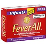 FeverAll Acetaminophen Suppositories, Infants, 80 mg, 6 suppositories