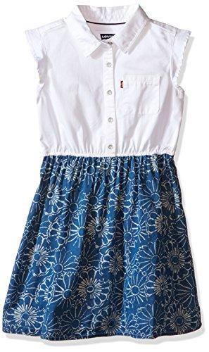 Levi's Big Girls Levis Beach Picnic Short Sleeve Woven Dress, Blue Vibes, X-Large