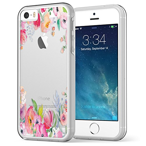 iPhone SE / 5S / 5 Case, True Color© Translucent Colorful Watercolor Flowers Printed on Clear Transparent Hybrid Cover Hard + Soft Slim Durable Protective Shockproof TPU Bumper Cover - Clear Bumper (Cool Animal Iphone 5 Cases compare prices)
