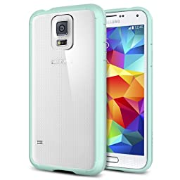 Galaxy S5 Case, Spigen® [ULTRA HYBRID Series] AIR CUSHION [Mint] Clear Back Panel Protective Bumper Case + Full HD Japanese Screen Protector for Galaxy S5 (2014) - Mint (SGP10846)