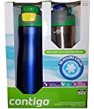 Contigo 2 Pack Vacuum-Insulated Stainless Steel Water Bottles (Blue/Silver)
