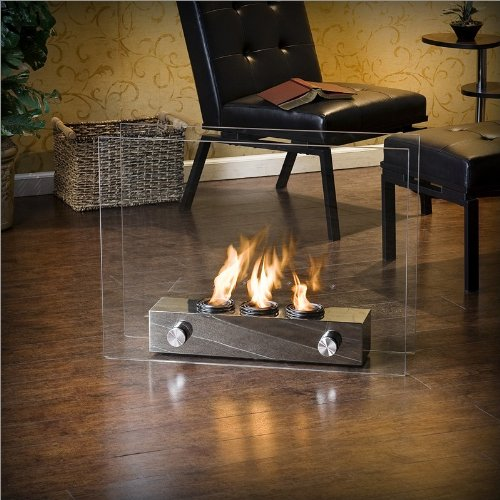 Southern Enterprises Portable Glass Fireplace