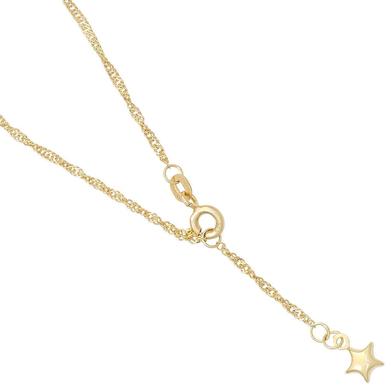 Damen Gold Fußkettchen Fußkette Stern 585 Gelbgold 25 cm günstig online kaufen
